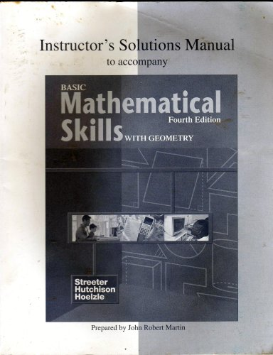 9780070274846: Instructor's Solutions Manual to Accompany Basic Mathematical Skills with Geometry Fourth Edition