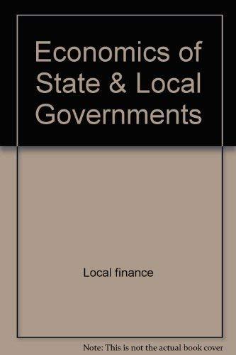 9780070290426: Economics of State & Local Governments (Economics Handbook Series)