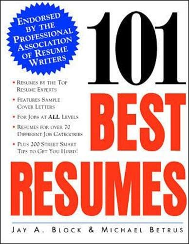 9780070328938: 101 Best Resumes: Endorsed by the Professional Association of Resume Writers