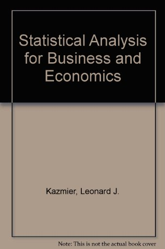 9780070334236: Statistical Analysis for Business and Economics