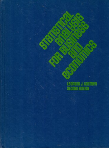9780070334304: Statistical Analysis for Business and Economics