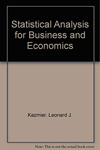 9780070334397: Statistical Analysis for Business and Economics