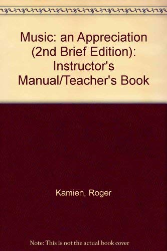 9780070348226: Music: an Appreciation (2nd Brief Edition): Instructor's Manual/Teacher's Book