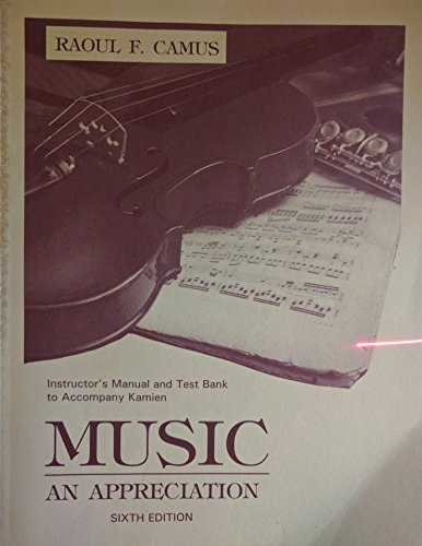 9780070348240: Music: an Appreciation: Instructor's Manual/Test Bank