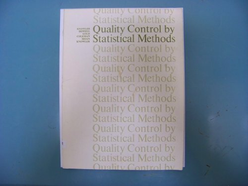 9780070351868: Quality Control by Statistical Methods