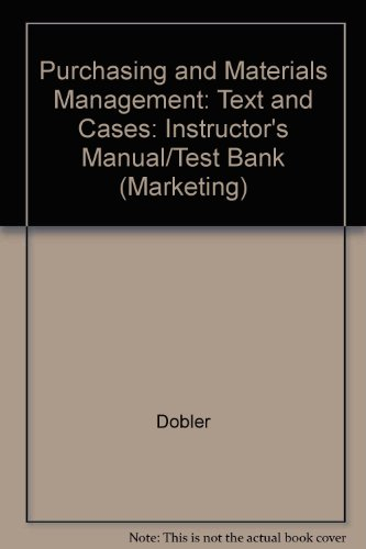 9780070370838: Purchasing and Materials Management: Text and Cases: Instructor's Manual/Test Bank (Marketing)