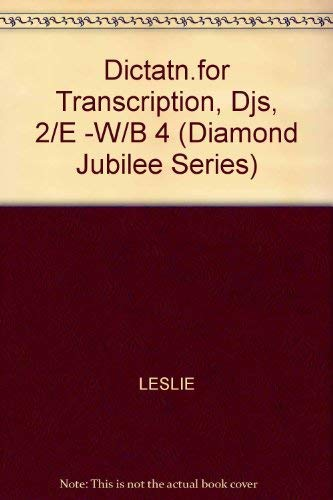 9780070372481: Dictation for Transcription (Diamond Jubilee Series)