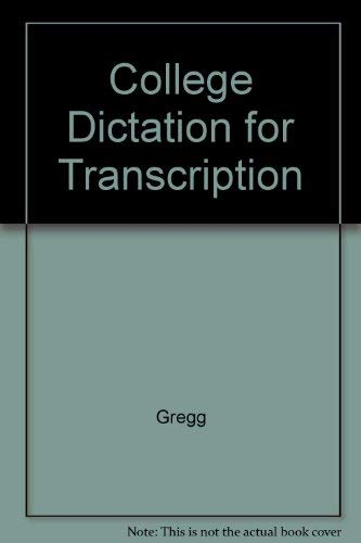9780070374300: College Dictation for Transcription