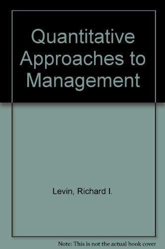 9780070374676: Quantitative Approaches to Management