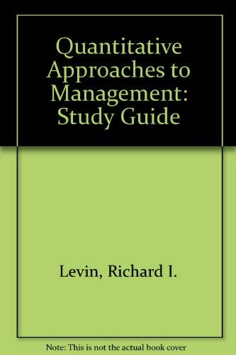 9780070374881: Quantitative Approaches to Management: Study Guide