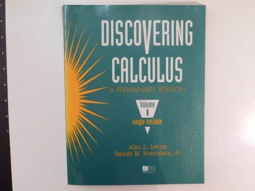 9780070375550: Discovering Calculus: A Preliminary Version Single-Variable