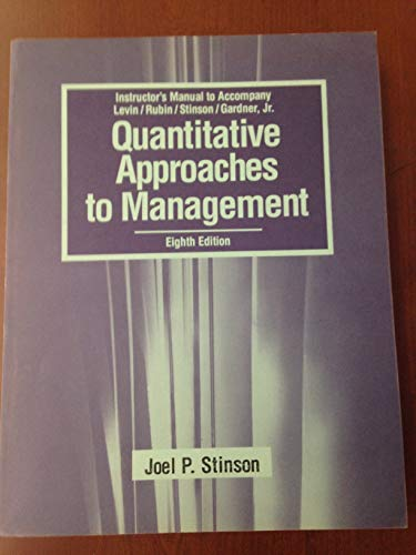 9780070375581: Quantitative Approaches to Management: Instructor's Manual