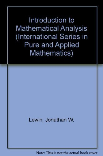 9780070375857: Introduction to Mathematical Analysis (International Series in Pure and Applied Mathematics)
