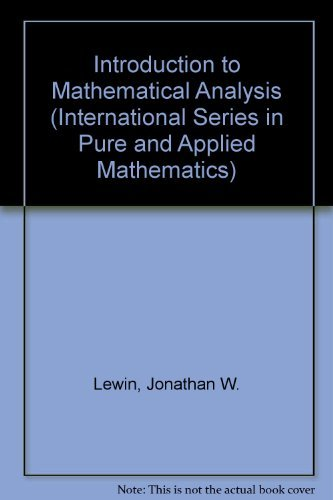 9780070375857: An Introduction to Mathematical Analysis (International Series in Pure and Applied Mathematics)