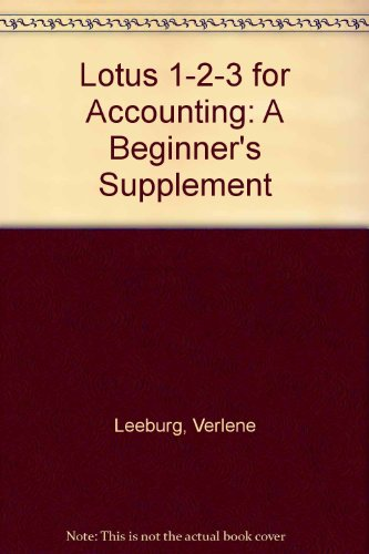 9780070375987: Lotus 1-2-3 for Accounting: A Beginner's Supplement