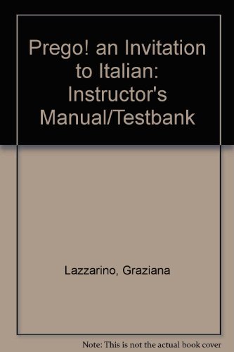 9780070377264: Prego! an Invitation to Italian: Instructor's Manual/Testbank