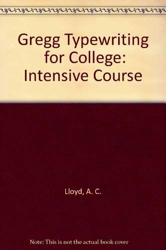 9780070381957: Gregg Typewriting  for College: Intensive Course