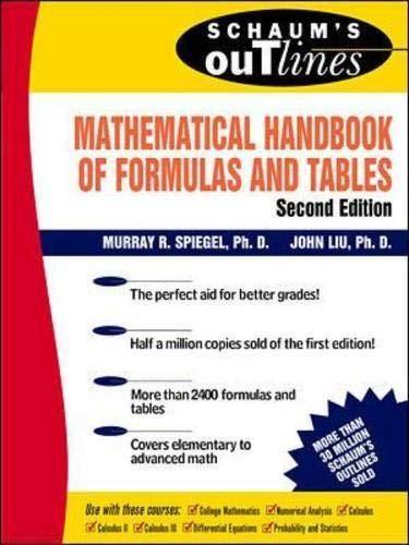 9780070382039: Schaum's Mathematical Handbook of Formulas and Tables (Schaum's Outline Series)