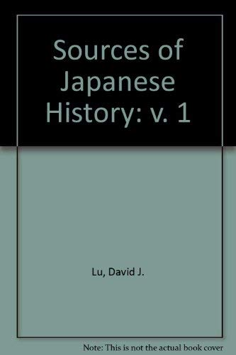 9780070389021: Sources of Japanese History: v. 1