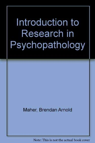 9780070396159: Introduction to Research in Psychopathology