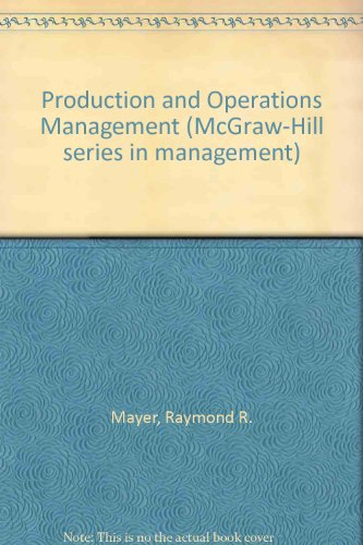 9780070410237: Production and Operations Management (McGraw-Hill series in management)