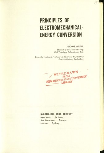 9780070414488: Principles of Electromechanical Energy Conversion