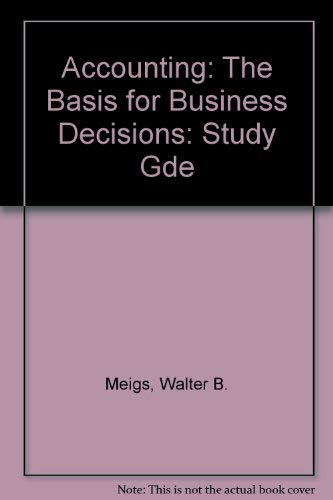 9780070415522: Study Guide for Use With Accounting: The Basis for Business Decisions