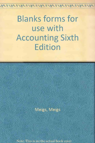 9780070415935: Blanks forms for use with Accounting Sixth Edition