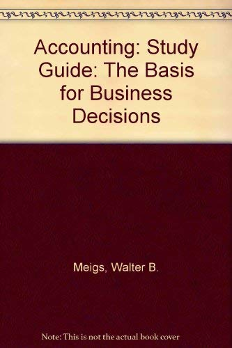 9780070430631: Accounting: Study Guide: The Basis for Business Decisions