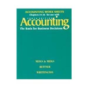 9780070432048: Accounting the Basis for Business Decisions: Work Sheets Chapters 14-26