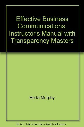 9780070440814: Effective Business Communications, Instructor's Manual with Transparency Masters