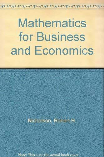 9780070464919: Mathematics for Business and Economics