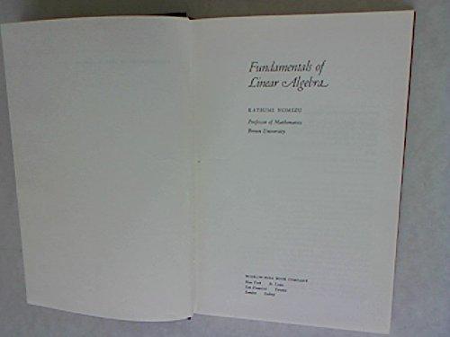 9780070468801: Fundamentals of Linear Algebra