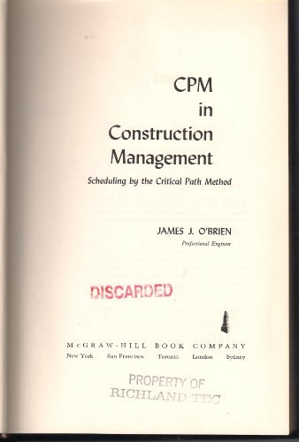 9780070482692: Cpm in Construction Management (McGraw-Hill Professional Engineering)
