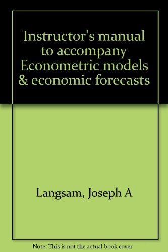 9780070500976: Instructor's manual to accompany Econometric models & economic forecasts
