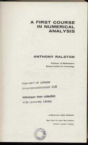 9780070511576: A First Course in Numerical Analysis