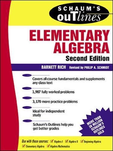 9780070522626: Schaum's Outline of Elementary Algebra