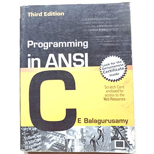 9780070534773: PROGRAMMING IN ANSI 'C'