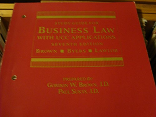 9780070539204: Study guide for Business law, with UCC applications