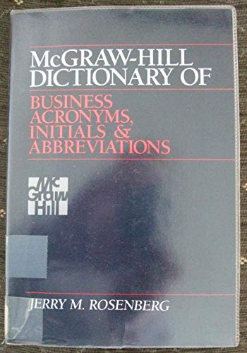 9780070539358: McGraw-Hill Dictionary of Business Acronyms, Initials, and Abbreviations