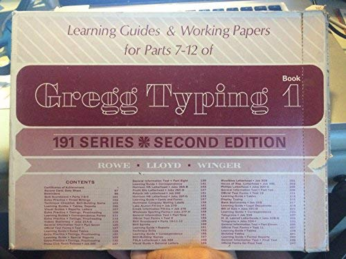 Gregg Typing 191 Series Book 1 Parts: Rowe, John L.