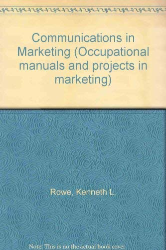 9780070541542: Communications in Marketing (Occupational manuals and projects in marketing)
