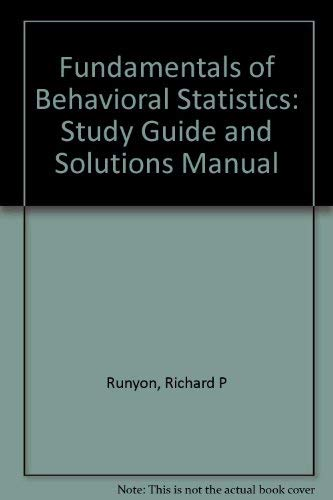 9780070549883: Fundamentals of Behavioral Statistics: Study Guide and Solutions Manual