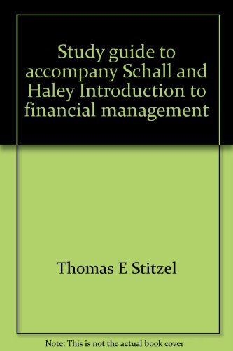 9780070551077: Study guide to accompany Schall and Haley Introduction to financial management