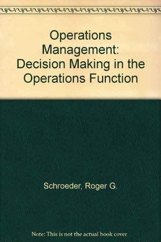 9780070556126: Operations Management: Decision Making in the Operations Function