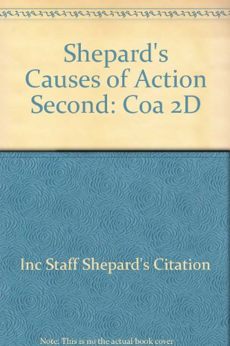 9780070567634: Shepard's Causes of Action
