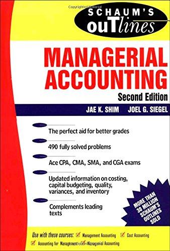 9780070580411: Schaum's Outline of Managerial Accounting (Schaum's Outline Series)