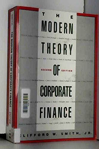 9780070591097: Modern Theory of Corporate Finance (The McGraw-Hill series in finance)