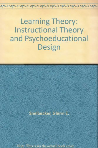 9780070594500: Learning Theory: Instructional Theory and Psychoeducational Design