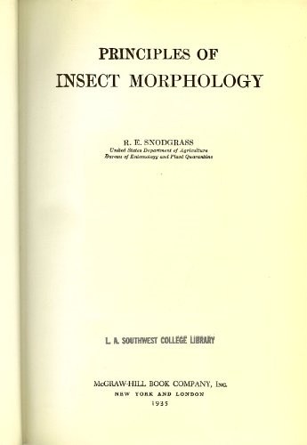 9780070595101: Principles of Insect Morphology (Zoological Science Publications)